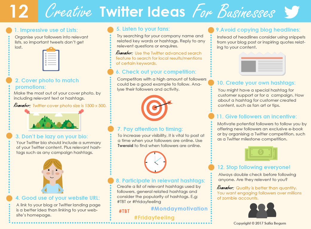 creative Twitter ideas for businesses infographic_safia begum_social media infographic